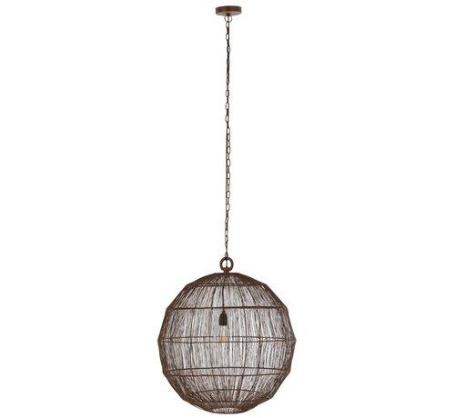 J -Line Hanging Lamp Sphere Woven Metal Mesh Rust - Large