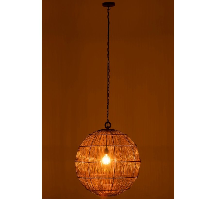 Hanging Lamp Sphere Woven Metal Mesh Rust - Large