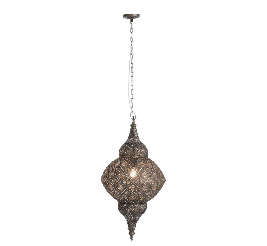Hanging lamp Oriental Patterns Holes Metal Black - Large