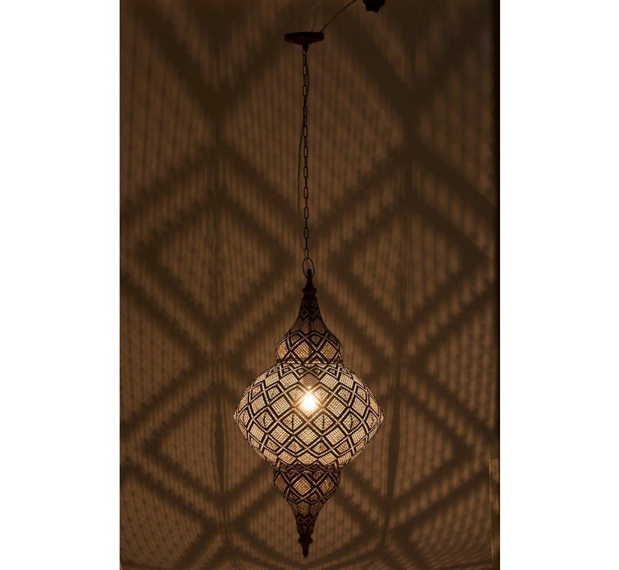 Hanglamp Oosterse Patronen Gaatjes Metaal Zwart  - Large
