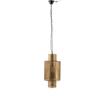 J -Line Hanging Lamp Long Braided Zinc Antique - Gold