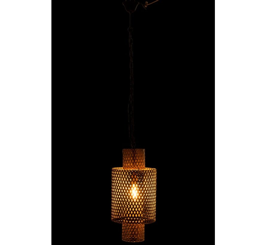 Hanging Lamp Long Braided Zinc Antique - Gold