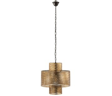 J -Line Hanging Lamp Wide Braided Zinc Antique - Gold