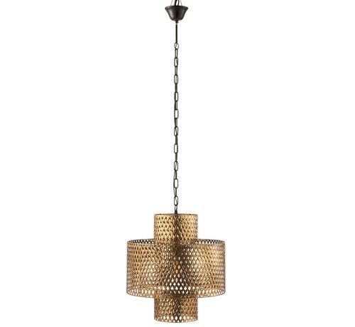 J -Line Hanglamp Breed Gevlochten Zink Antiek - Goud