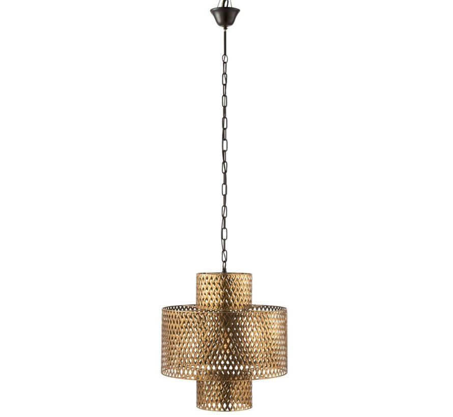 Hanging Lamp Wide Braided Zinc Antique - Gold