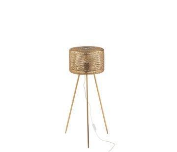 J-Line Staande Lamp Rond Op Poten Metaal Goud - Small