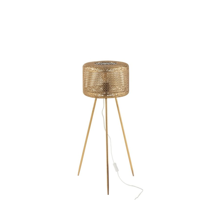 Floor Lamp Round On Legs Metal Gold - Small