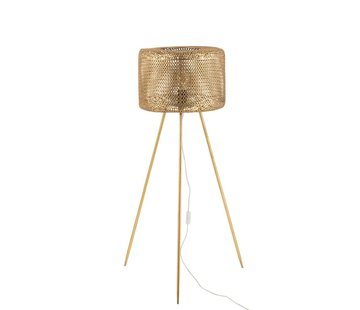 J-Line Staande Lamp Rond Op Poten Metaal Goud - Large