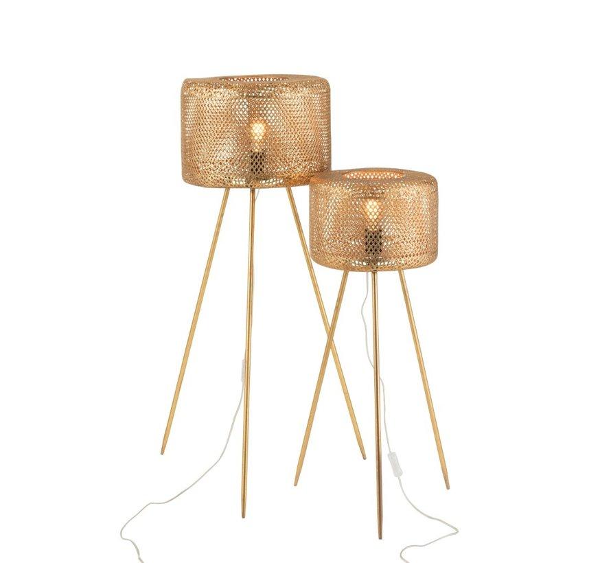 Staande Lamp Rond Op Poten Metaal Goud - Large