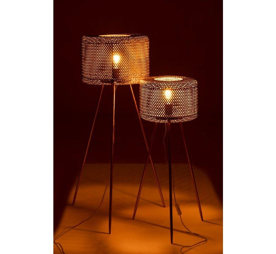Floor Lamp Round On Legs Metal Gold - Large