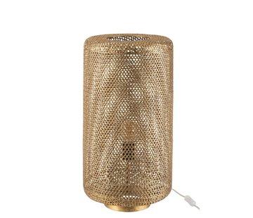 J -Line Tafellamp Cilinder Hoog Metaal Gaatjes - Goud