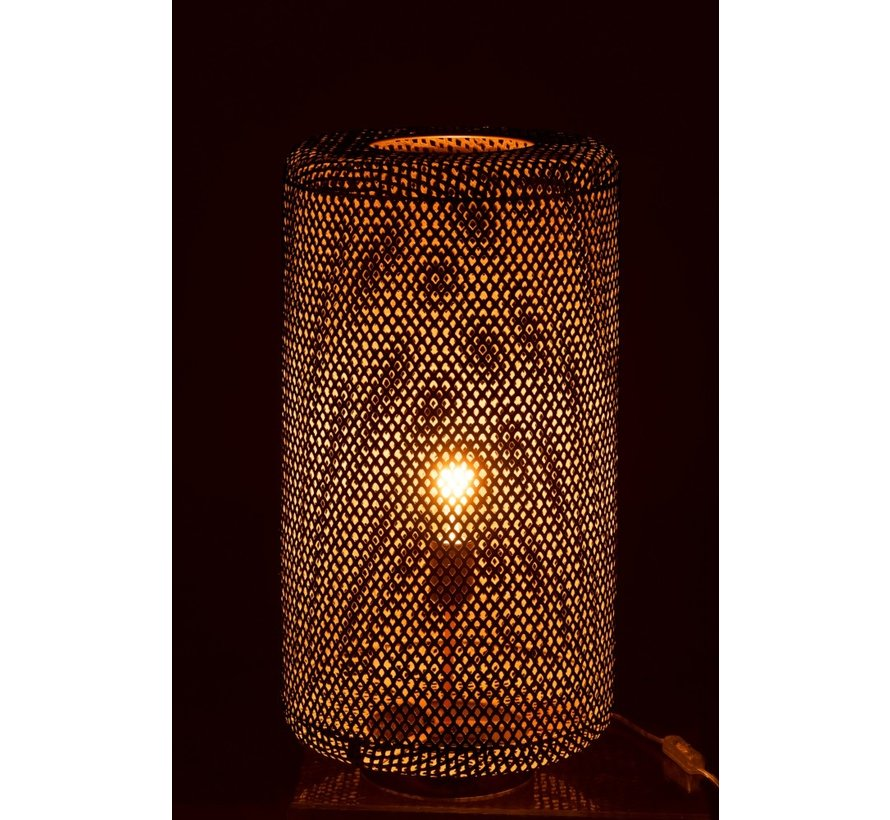 Table lamp Cylinder High Metal Holes - Gold
