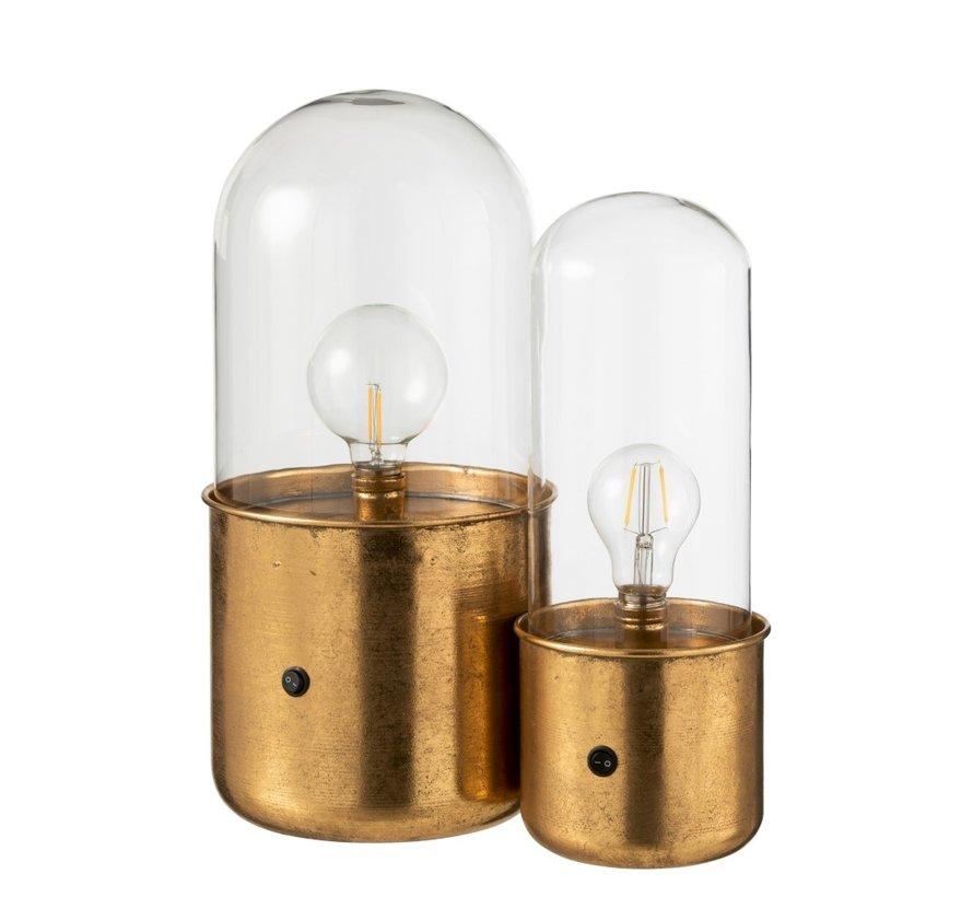Tafellamp Glas Led Verlichting Antiek Goud - Small