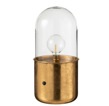 J -Line Table Lamp Glass Led Lighting Antique Gold - Large