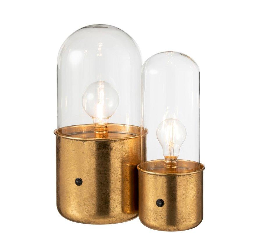 Tafellamp Glas Led Verlichting Antiek Goud - Large