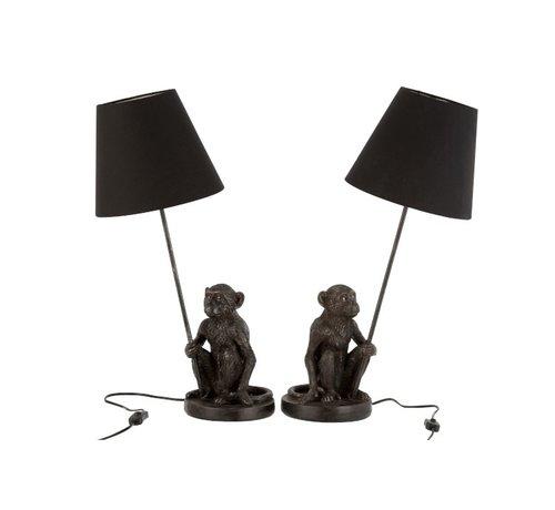 J -Line Tafellamp Decoratief Zittende Apen Poly - Donkerbruin