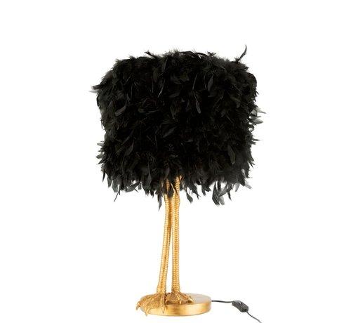 J-Line Tafellamp Decoratief Vogelpoten Pluimen Goud - Zwart