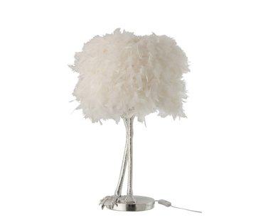 J-Line Tafellamp Decoratief Vogelpoten Pluimen Zilver - Wit