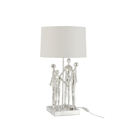 J-Line  Table Lamp Decorative Four Abstract Persons Silver - White