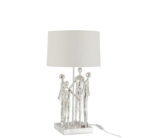 J-Line  Tafellamp Decoratief Vier Abstracte Personen Zilver - Wit