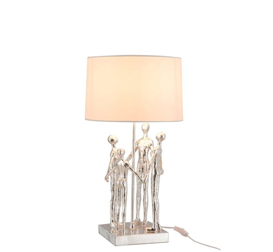Tafellamp Decoratief Vier Abstracte Personen Zilver - Wit
