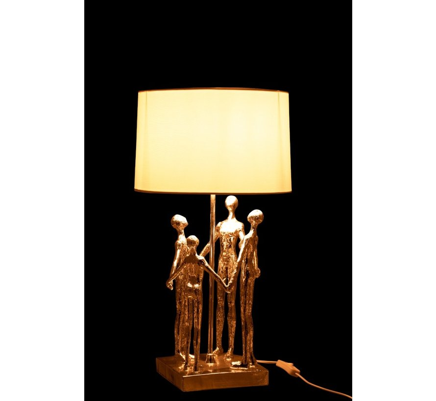 Table Lamp Decorative Four Abstract Persons Silver - White