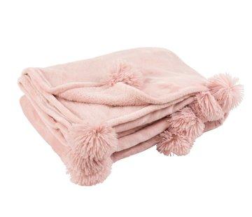 J-Line  Plaid Extra Soft Pompom Polyester - Baby Pink