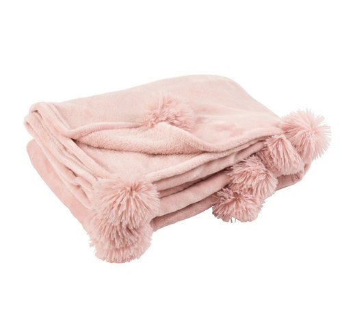J -Line Plaid Extra Zacht Pompom Polyester - Baby Roze