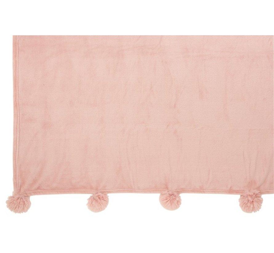 Plaid Extra Zacht Pompom Polyester - Baby Roze
