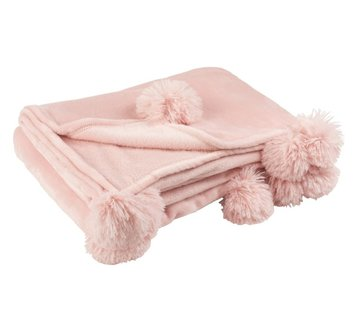 J-Line Plaid Extra Soft Pompom Polyester - Soft Pink