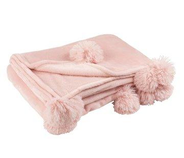 J-Line Plaid Extra Zacht Pompom Polyester - Zacht Roze