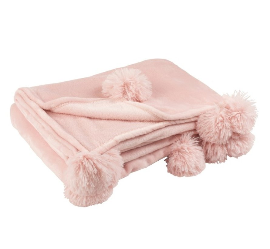 Plaid Extra Zacht Pompom Polyester - Zacht Roze