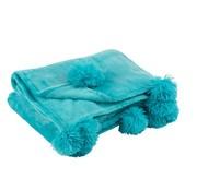 J -Line Plaid Extra Zacht Pompom Polyester - Azuur Blauw