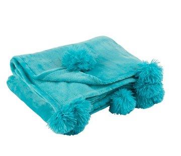 J-Line Plaid Extra Zacht Pompom Polyester - Azuur Blauw