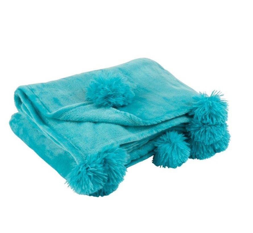 Plaid Extra Soft Pompom Polyester - Azure Blue