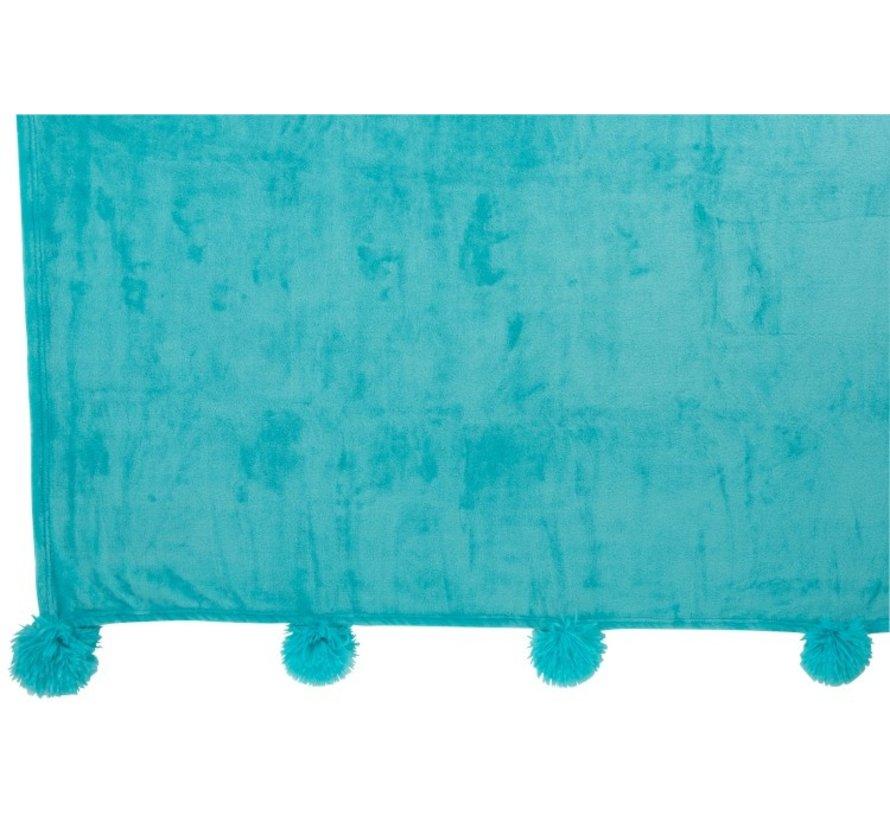 Plaid Extra Zacht Pompom Polyester - Azuur Blauw