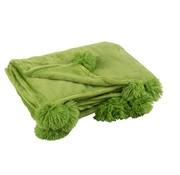 J-Line Plaid Extra Zacht Pompom Polyester - Grasgroen