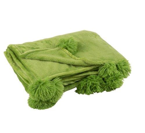 J -Line Plaid Extra Zacht Pompom Polyester - Grasgroen