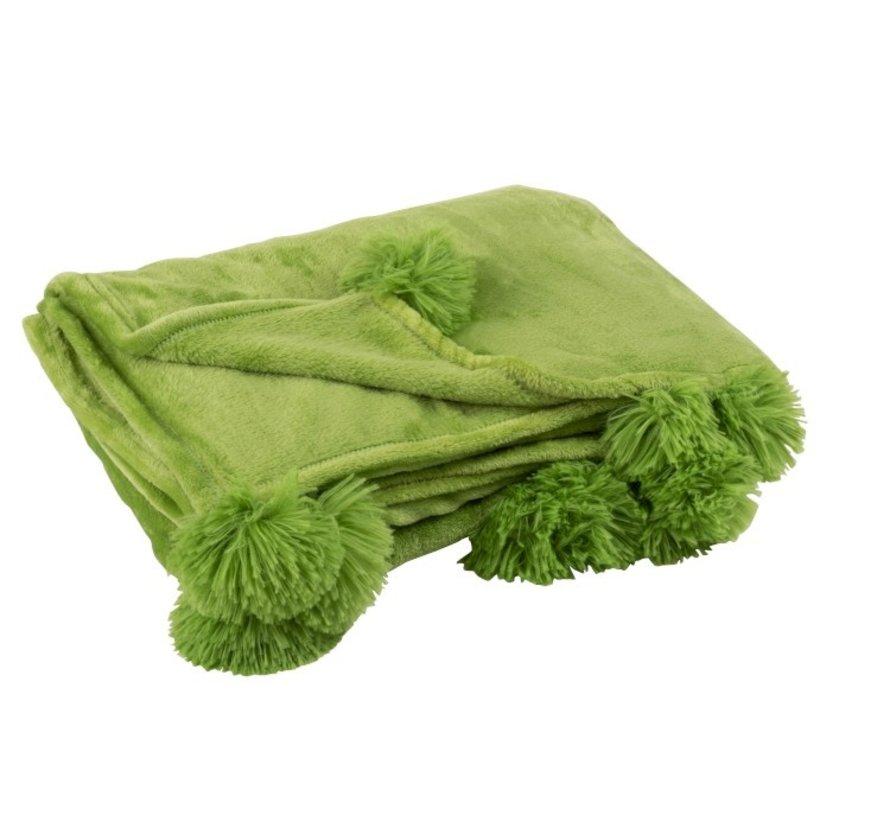 Plaid Extra Zacht Pompom Polyester - Grasgroen