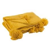 J -Line Plaid Extra Soft Pompom Polyester - Ocher