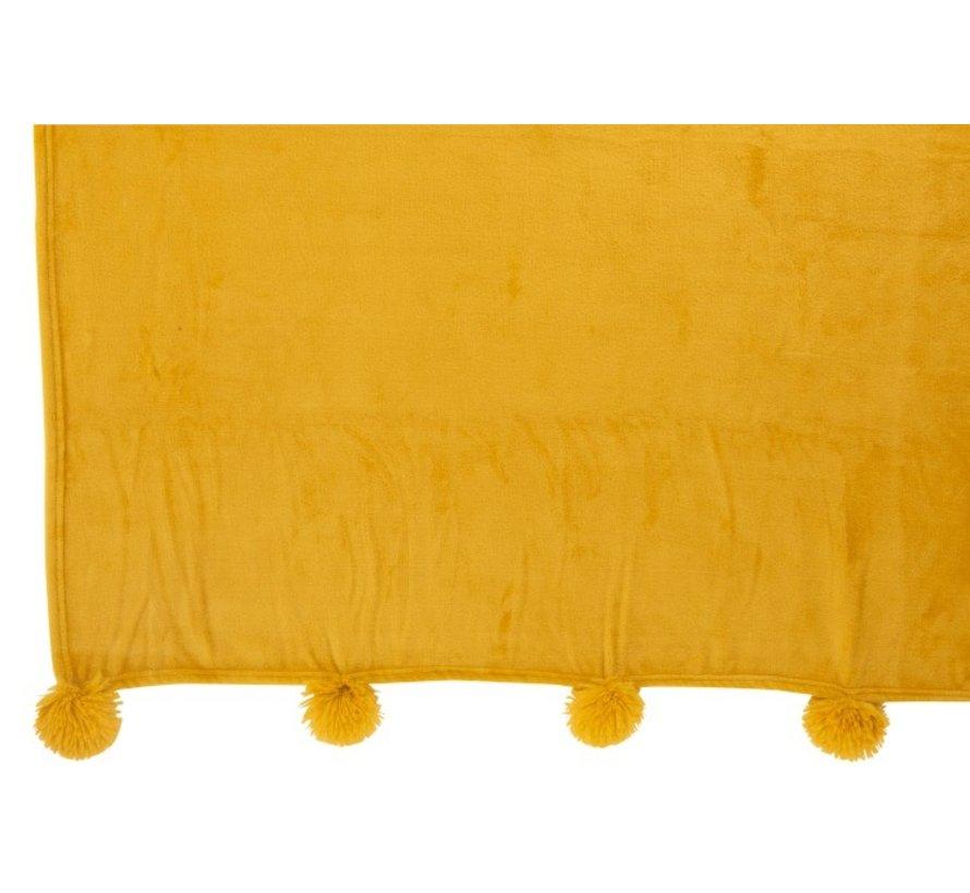 Plaid Extra Soft Pompom Polyester - Ocher
