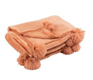 J -Line Plaid Extra Soft Pompom Polyester - Old Pink