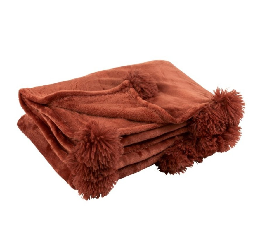 Plaid Extra Zacht Pompom Polyester - Marsala