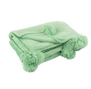 J-Line Plaid Extra Zacht Pompom Polyester - Baby Groen