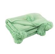 J -Line Plaid Extra Zacht Pompom Polyester - Baby Groen