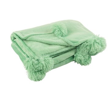 J -Line Plaid Extra Soft Pompom Polyester - Baby Green