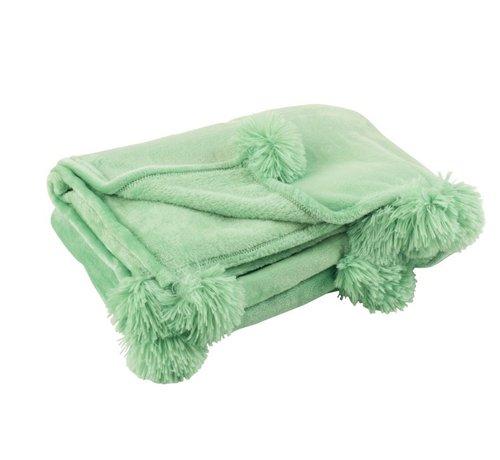 J-Line Plaid Extra Soft Pompom Polyester - Baby Green