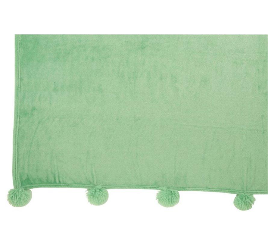 Plaid Extra Zacht Pompom Polyester - Baby Groen