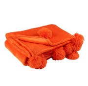 J -Line Plaid Extra Soft Pompom Polyester - Orange