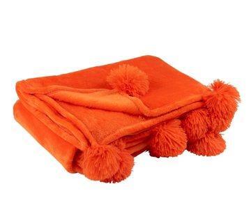 J -Line Plaid Extra Soft Pompom Polyester - Orange